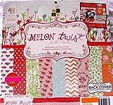 Melon Twist 12x12 Scrapbooking Cardstock Paper Pad 48 Sheets,dots,chevron,flowers,fruit,melons Summer Bright
