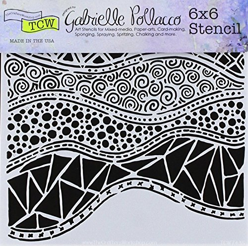 Crafters Workshop TCW743S Template 6''X6''-Crazy Waves by CRAFTERS WORKSHOP