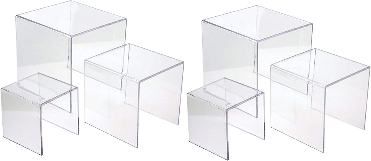 Jusalpha 3'' 4'' 5'' -6 PC Clear Acrylic Display Riser Jewelry Showcase Fixtures, Food Display Riser (Set of 2)