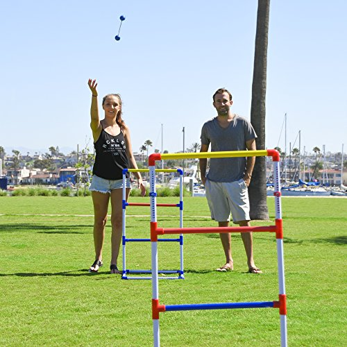 This ladder ball game includes two mm PVC ladder ball targets, 3 red and 3 blue bolas made from real golf balls and thick ropes, ladder ball rules and a carrying case so that you can enjoy this ball on string game anywhere. Overall, it seems like a good option, if you are on the lookout for a ladder toss set.