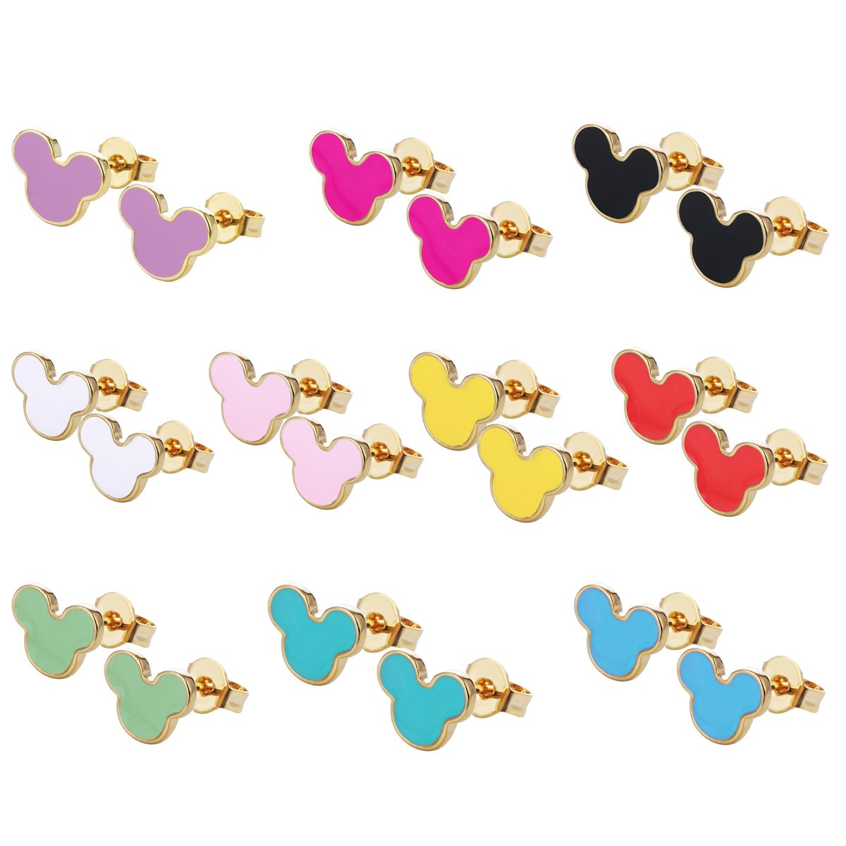 10/8Pairs 18K Gold Plated Small Cute Simple Post Stud Earrings Set for Girls Kids Gold Tone Mix and Match HYZ HYZ-DL01