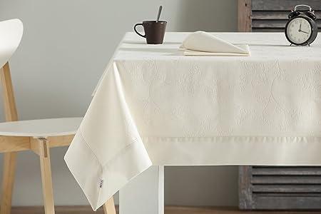 ESTELA - Mantel Tejido Sandra Color Crema - 150x150 cm. - Confección en Aplique - Incluye 6 servilletas - 50% Algodón / 50% Poliéster: Amazon.es: Hogar