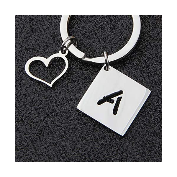 bobauna Stainless Steel Cut Out Alphabet Initial Letter Keychain Key Ring Personalized Gift