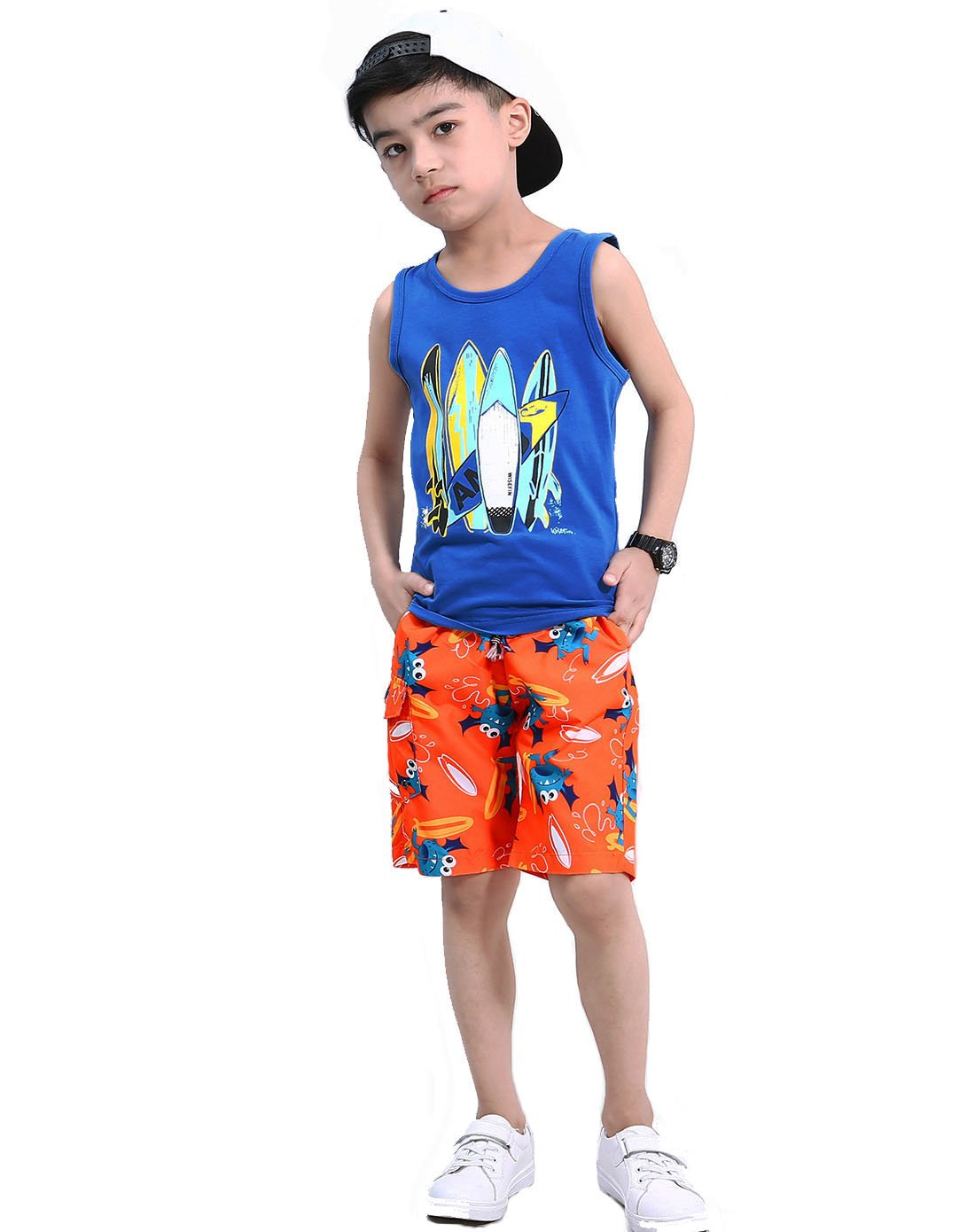 Boys Cotton Vest Set Multi-Color Variety Summer Casual Suit for Kids 5-17Years (Blue Aircraft, 12years)