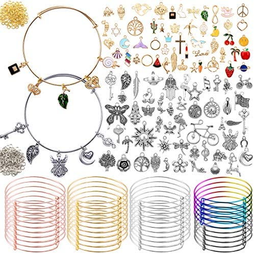 POPMISOLER 340-Pcs Expandable Charm Bracelets DIY Kit,Include 40 Adjustable Wire Bracelets Expandable Bangle,100 Charm Pendants,200 Open Rings for DIY Jewelry Making,DIY Craft