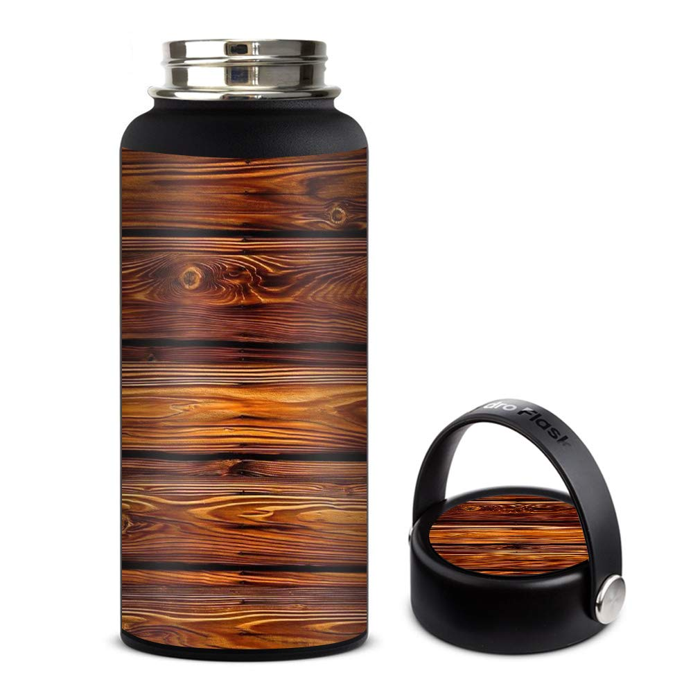 Skin Decal Vinyl Wrap for Hydro Flask 32oz Wide Mouth Skins Stickers Cover/Red Deep Mahogany Wood Pattern