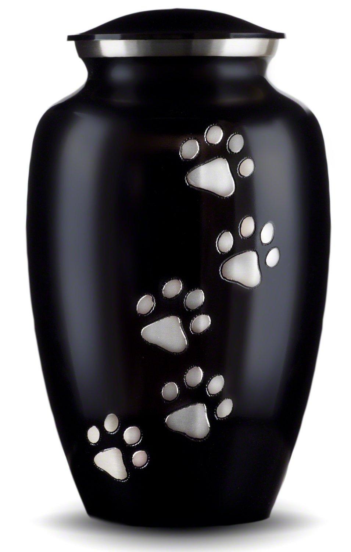 Best Friend Services Ottillie Paws Series Pet Urn Ebony Vertical Pewter Paws (Large)
