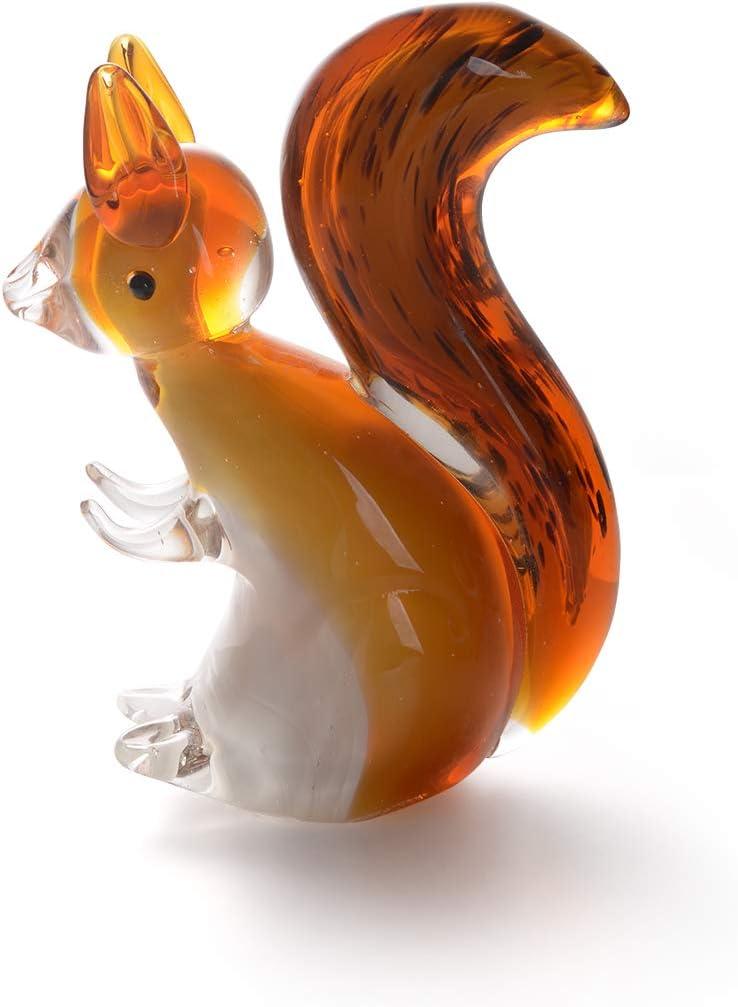 LONGWIN Hand Blown Art Glass Sculpture Glass Squirrel Animal Figurine Home Decoration Ornaments