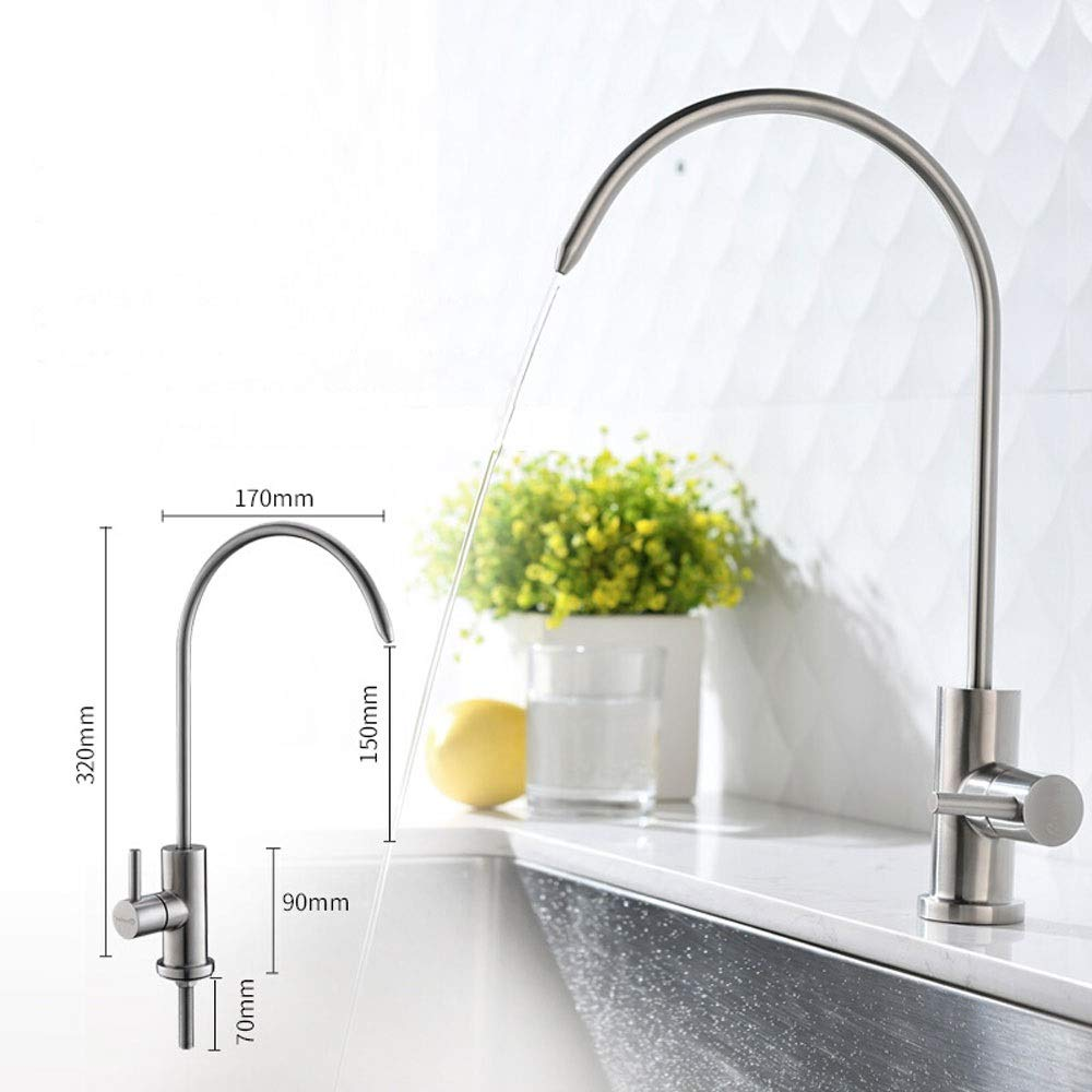 WOOMD Bathroom Basin Sink Tap Cloakroom Small Kitchen Lavatory Sink Mixer Faucet in Brushed Stainless Steel CREA Bathroom Bar Faucet