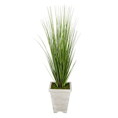 House of Silk Flowers Artificial 4ft PVC Grass in Washed Wood Planter (Grey-Washed)