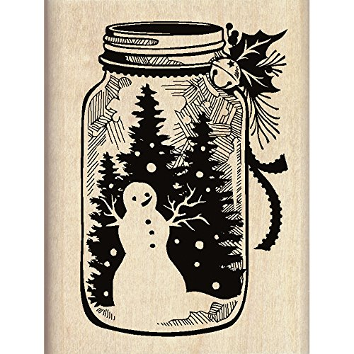 Inkadinkado Mason Jar Snowman Christmas Mounted Rubber Stamp, 2.25