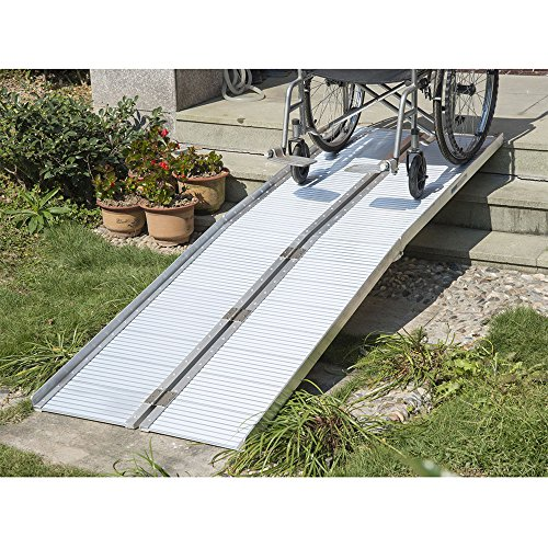 Olymstore 10 ft Portable Aluminum Folding Ramp for Wheelchair Scooters Pet Emergency Hospital,Briefcase Mobility Non Slip,Home Utility ()