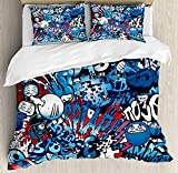 Modern Full Bedding Duvet Cover Set 4 Piece, Luxury Microfiber Comforter Cover, Bed Sheet and Decorative Shams, Teenager Style Image Street Wall Graffiti Graphic Colorful Design Artwork Print