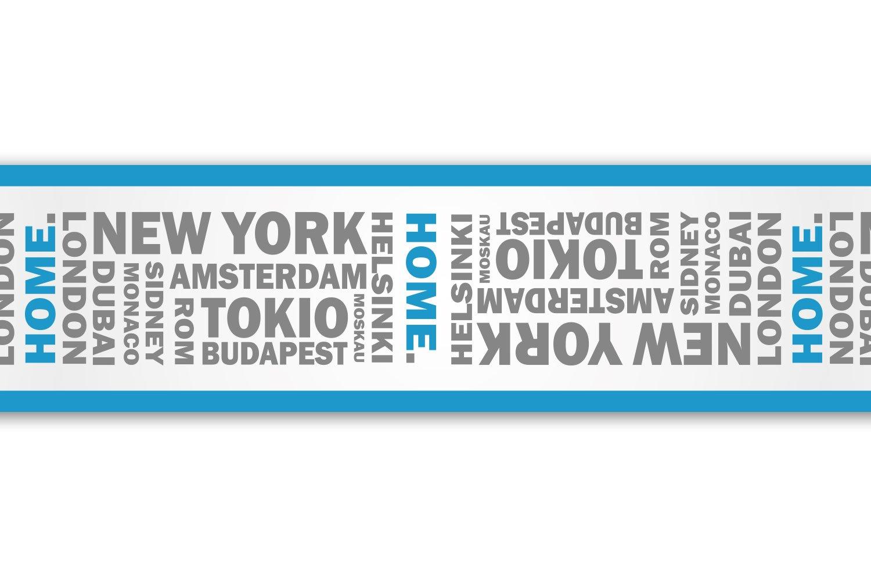 Kleisterbordü re 'Home', 4-teilig 520x15cm, Tapetenbordü re, Wandbordü re, Borte, Wanddeko,Stadtnamen, Reise wandmotiv24