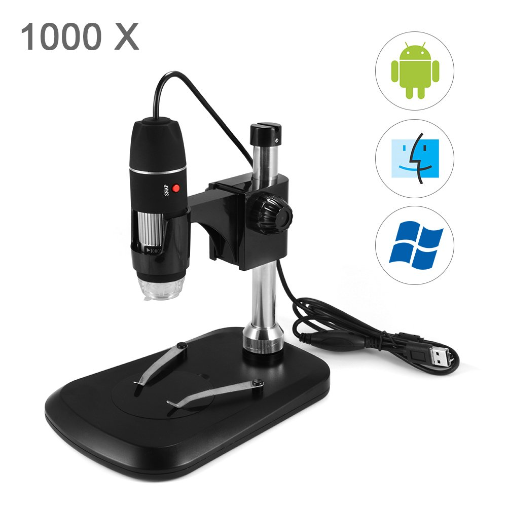 Kreema 1000 LED X 8 LED 1000 USB2.0 Zoom Digital Microscope Hand Held Biological Endoscope Maganifier con soporte de elevación fe7ac3