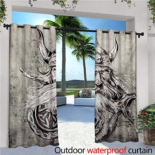 Tattoo Outdoor Privacy Curtain for Pergola Artistic Pencil Drawing of a Brave Viking Warrior with Armour Image Adventure Thermal Insulated Water Repellent Drape for Balcony W108