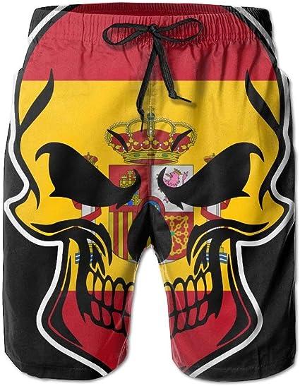 Skull-1 - Pantalón corto de playa para hombre (cordones, con bolsillos), diseño de la bandera de España: Amazon.es: Juguetes y juegos