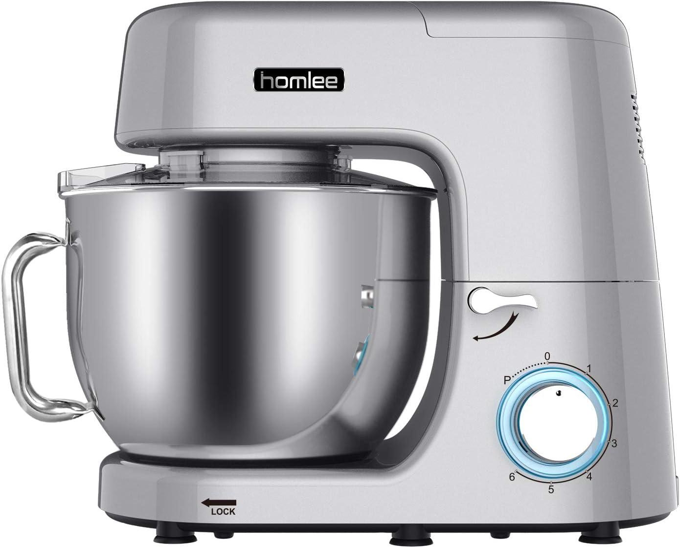 Homlee1800W Batidora Amasadora,Robot de cocina Automática Multifuncional, Profesional Amasadora de Bajo Ruido para Repostería Alta potencia Amasadora de pan con Cuenco de 7,2L: Amazon.es: Hogar