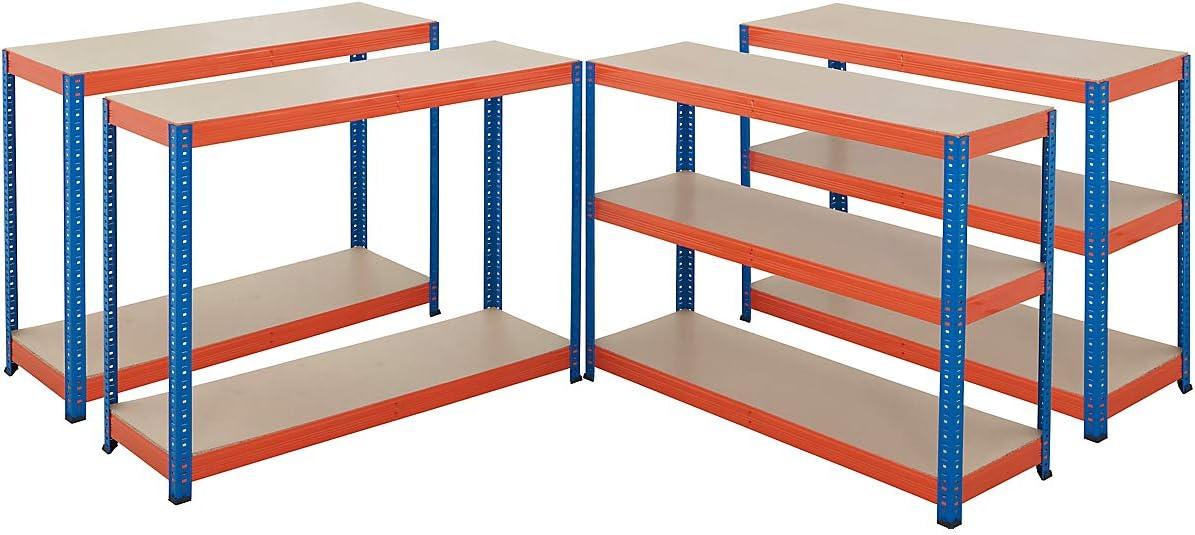 200 kg pro Fachboden Certeo Mega Deal Tiefe 40 cm Metallregal Kellerregal Lagerregal Werkstattregal Garagenregal Steckregal 2x Schwerlastregale