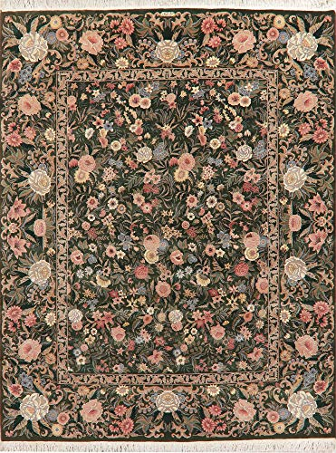 8'X10' Hunter Green Floral Aubusson Oriental Area Rug Hand-Knotted