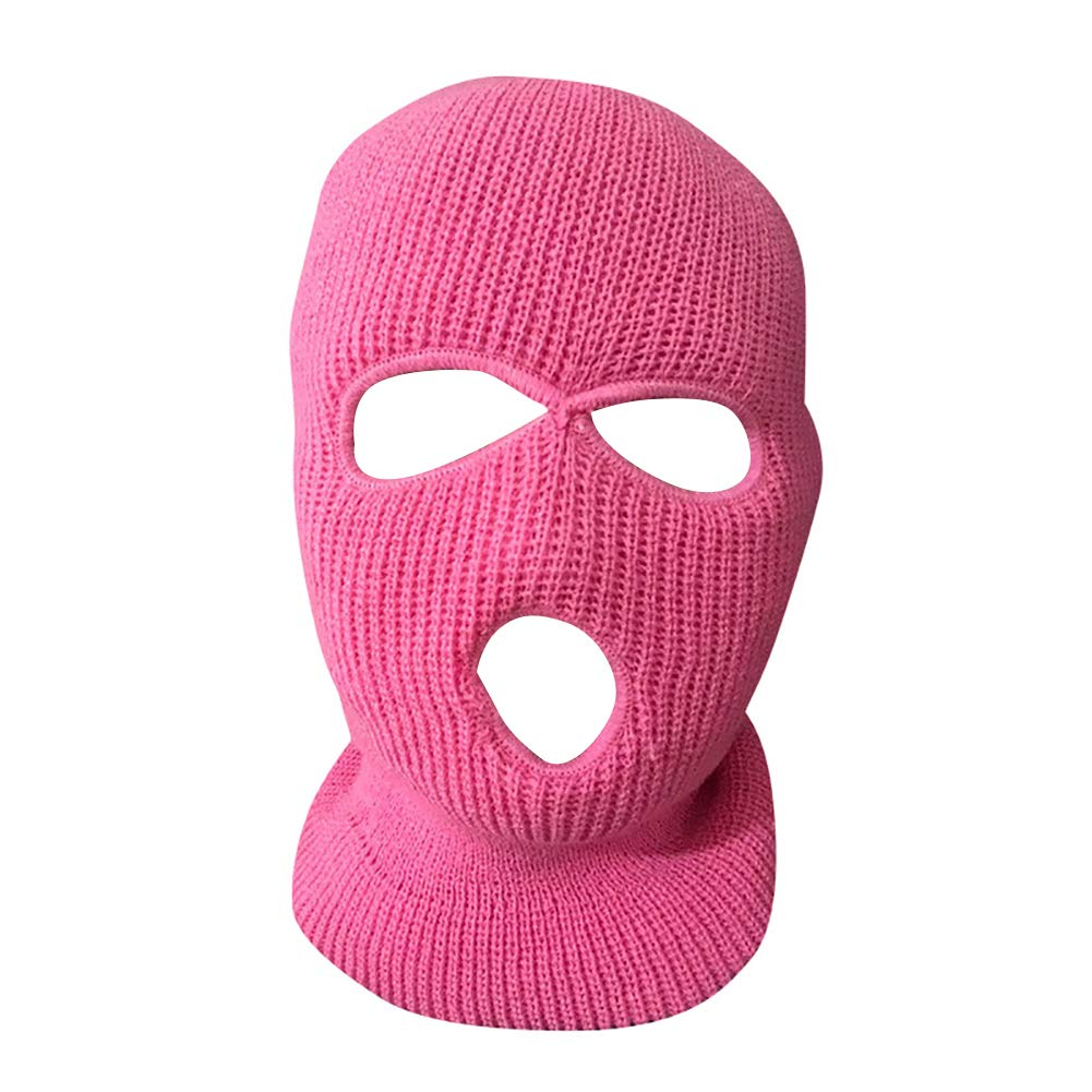yanbirdfx Army Tactical Winter Warm Ski Cycling 3 Hole Balaclava Hood Cap Full Face Mask - Pink