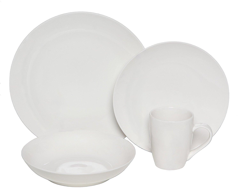 Melange Coupe 36-Piece Porcelain Dinnerware Set (White) | Service for 12 | Microwave, Dishwasher & Oven Safe | Dinner Plate, Salad Plate & Soup Bowl (12 Each)