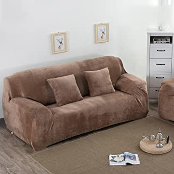 Suede sofa covers,Stretch sofa slipcovers,Furniture protector,Solid color thicken couch cover throw for 1,2,3,4 Cushion covers-L 4 seaters