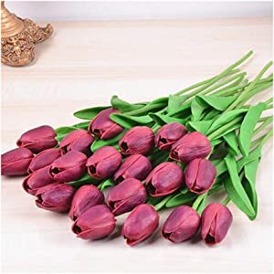 PU Real Touch Tulips Artificial Flowers 10 Pcs Flowers Arrangement Bouquet for Home Office Wedding Decoration (Wine Red)