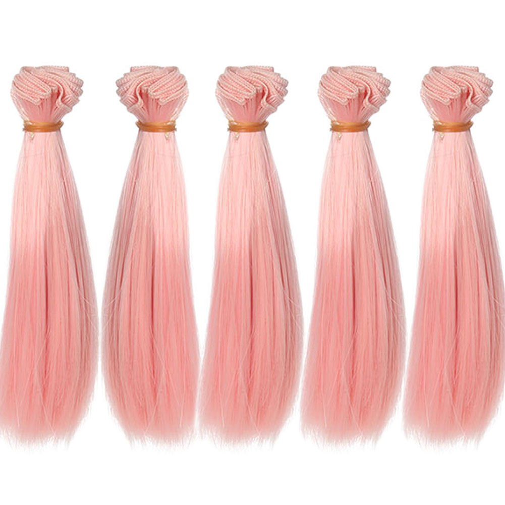 5pcs/lot 15x100cm Straight Rose Red Heat Resistant Hair Wefts Handcraft Materials for Making Doll Wigs Leeswig