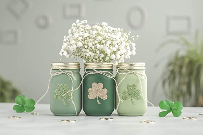 Amazon Com St Patricks Day Centerpiece Decor Vases Painted Mason