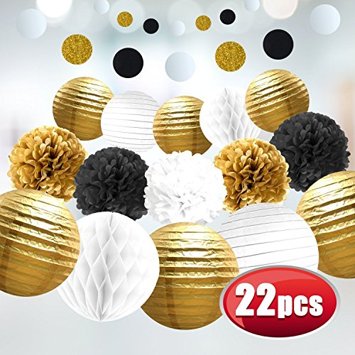 Gold Black Decorations White Tissue Paper Flowers Pom Poms Paper Lanterns Women Birthday Adult Party Great (Great Gatsby Table Centerpieces)