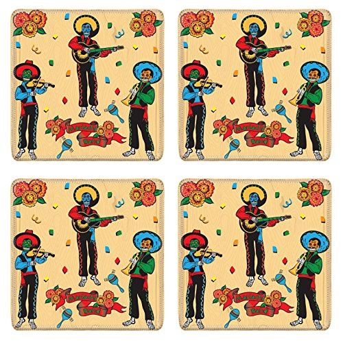 [MSD Natural Rubber Square Coasters IMAGE ID: 6609204 Colorful Day of the Dead Mariachi Band with banner and flowers on a faded wood] (Dia De Los Muertos Mariachi Costume)