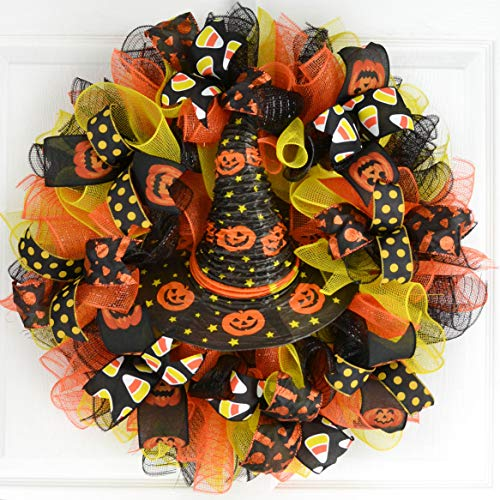 Halloween Witch Hat Wreath | Witch Halloween Front