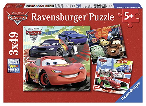 Ravensburger Disney Cars: Worldwide Racing Fun 3 x 49-Piece Jigsaw Puzzle for...