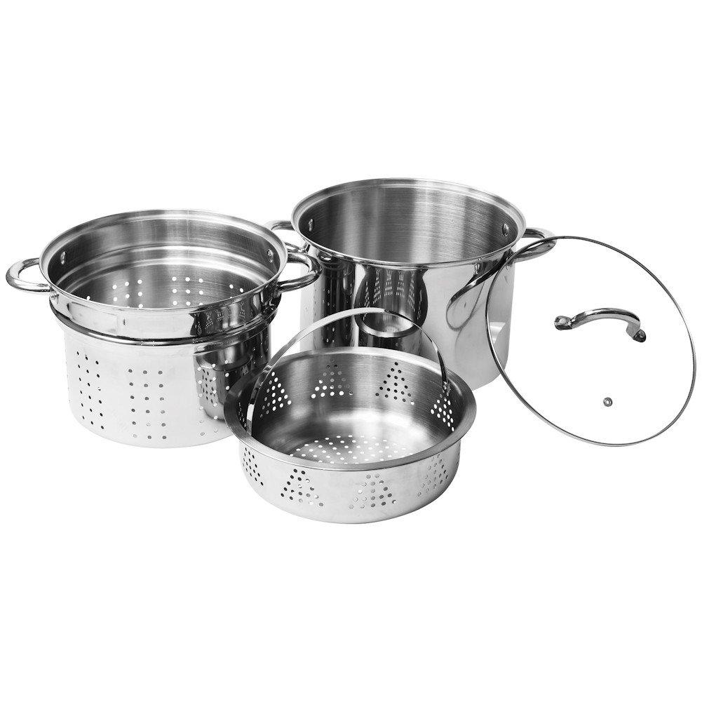 4 pcs de acero inoxidable de cocina de pasta - 8 qt Olla con inserciones de vapor: Amazon.es: Hogar