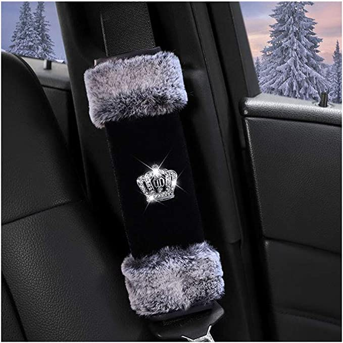 Siyibb 2Pcs Plush Car Seat Belt Shoulder Pad with Crystal Diamond Pink