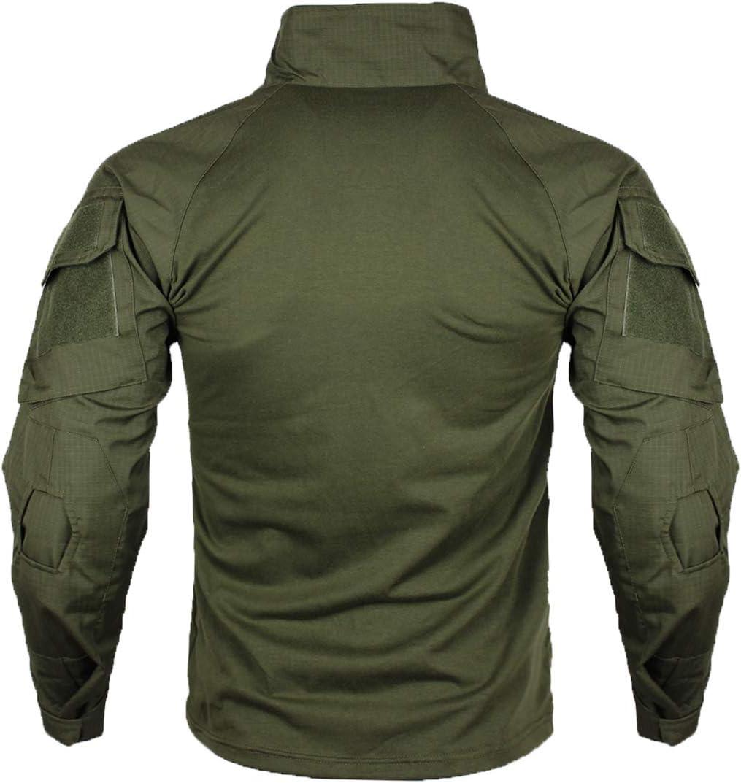 zuoxiangru Camiseta de Combate t/áctica para Hombres Camisa Multicam Transpirable Ripstop para Caza Militar Airsoft