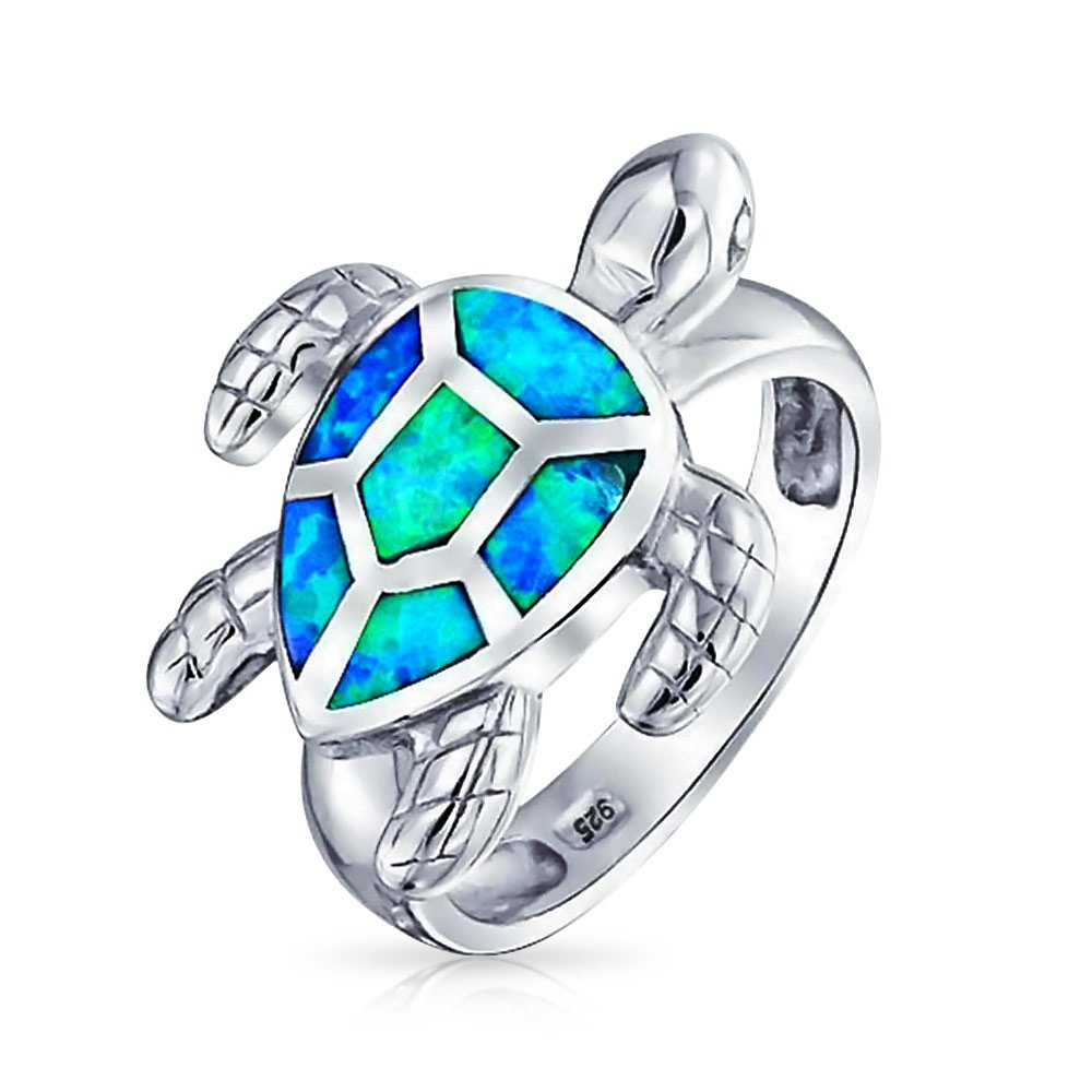 Bling Jewelry Synthetic Blue Opal Inlay Nautical Sea Turtle Sterling Silver Ring XNY-RS1332A1
