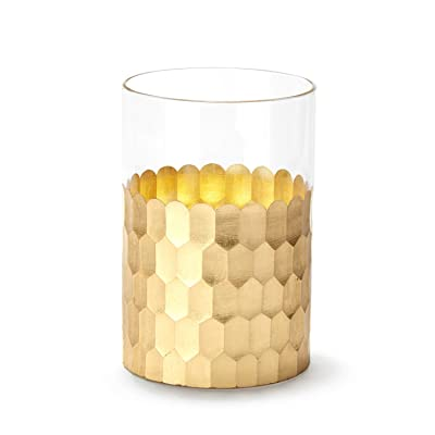 Giftable Decorative Flameless Realistic Candle - Glass and Gold Hammered Style, Flickering LED, Battery Operated Electric Pillar Candle, Remote & Batteries Included, Mother's Day Gift, Home Decor: Home Improvement
