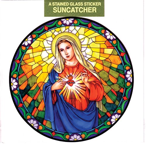- Immaculate Heart of Mary Window Decal, Reusable Vinyl Suncatcher, Stained Glass Design