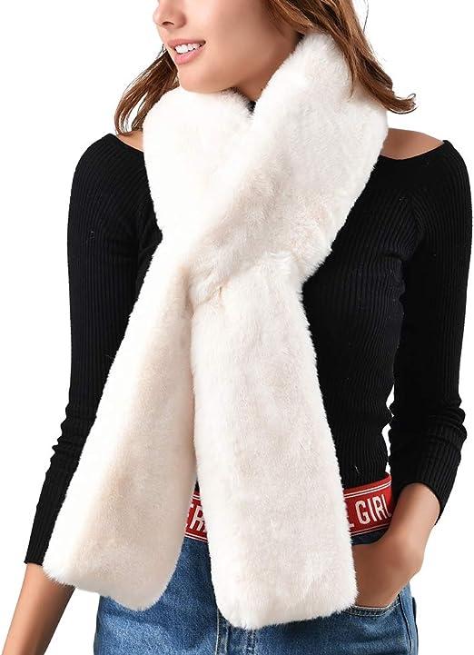 Women Winter Faux Fur Scarf Wrap Neck Sleeve Outerwear Warm Shawl Stole Scarves