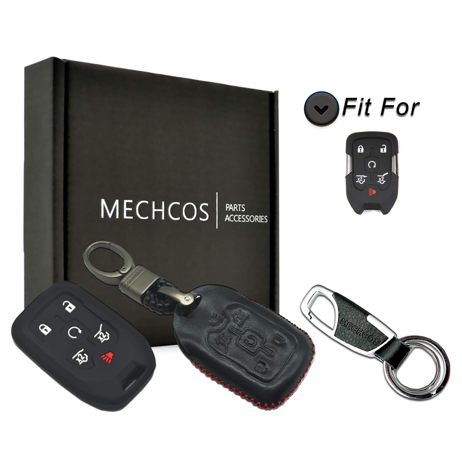 MECHCOS Compatible with fit for 2015 2016 2017 2018 2019 Chevrolet Suburban Tahoe 2015-2018 GMC Yukon XL 6 Buttons Leather Smart Key Fob Cover Case Remote Skin Keyless Jacket Holder Protector Black