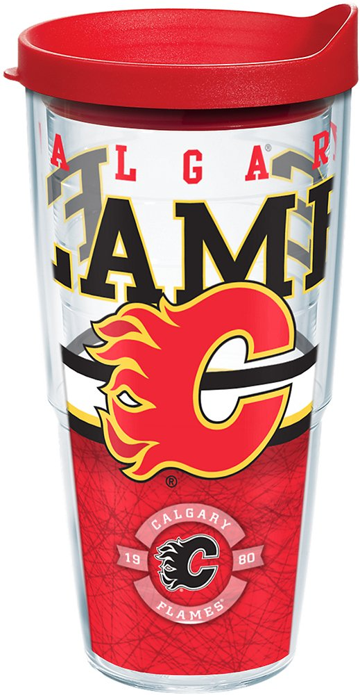 Tervis 1164777 NHL Calgary Flames Core Tumbler with Wrap and Red Lid 24oz, Clear