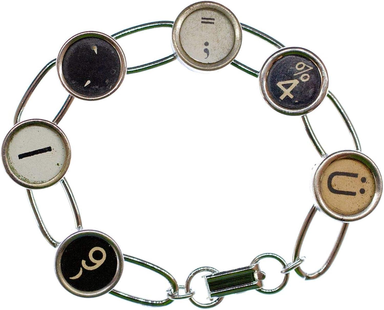 Typewriter Keys Letters Initials Typewriter Keys Bracelet Wristlet Dangle Upcycling Recycling Vintage 6 Characters