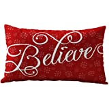Clearance!! Christmas Pillow Case,Rectangle Cotton Linter Pillow Cases (Red Letter)