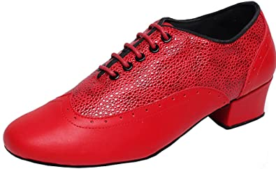 CFP Herren Tanz Schuhe aus Leder, flach, modern, mit runden