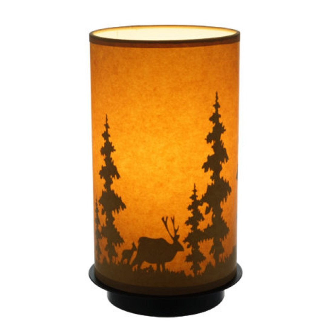 CATALINA Carefully Hand-Crafted Decorative Oil Paper Lamp Uplight - ideal for Modern Homes, Log Cabin - Oil paper shade printed with lodge theme - 6.5 in. L x 6.5 in. W x 11 in. H