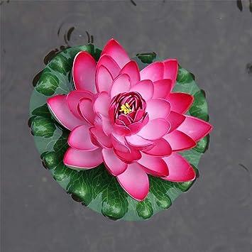 GuanJer Espuma Flotante Artificial con Flores de Loto, con Adornos de Almohadilla de Lirio de