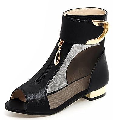 e810829ac0a4 IDIFU Women s Unique Peep Toe Low Chunky Heels Hook and Loop Mesh Sandals  (Black