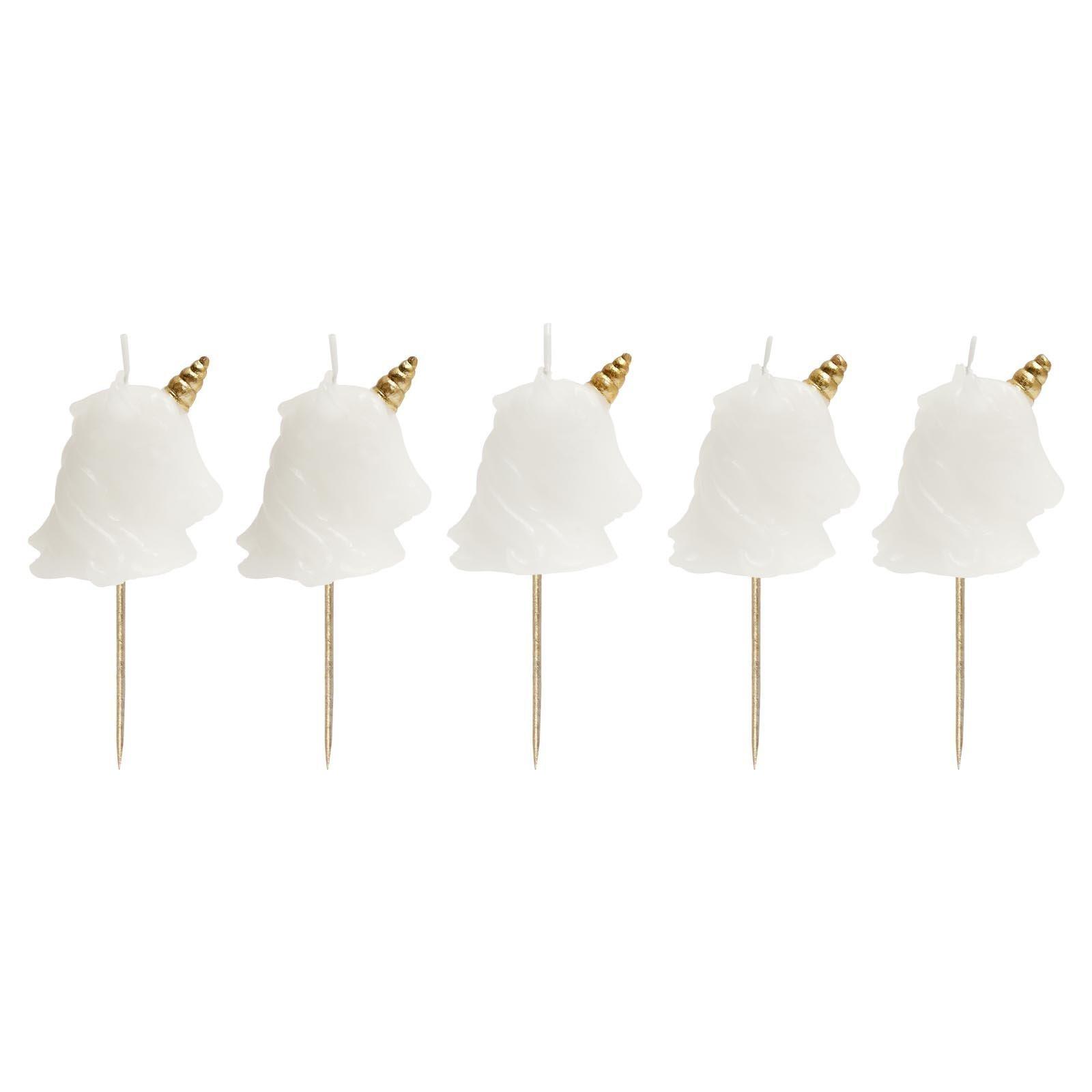 SunnyLIFE Themed Cake Candles in Animal, Plant, and Food Shapes, Set of 5 - Unicorn White